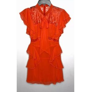 NWT Women's L'atiste Coral Lace And Ruffles Dress